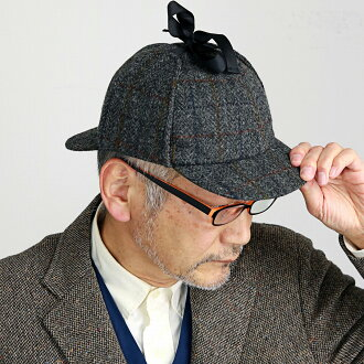 1303 model X HB310-A4 ディアストーカーカシュケット fashion classical / gray system [deerstalker hat] man Christmas gift present made in KASZKIET hat Harris Tweed cap men checked pattern detective hat Sherlock deer assailing hat Poland in the fall and winter