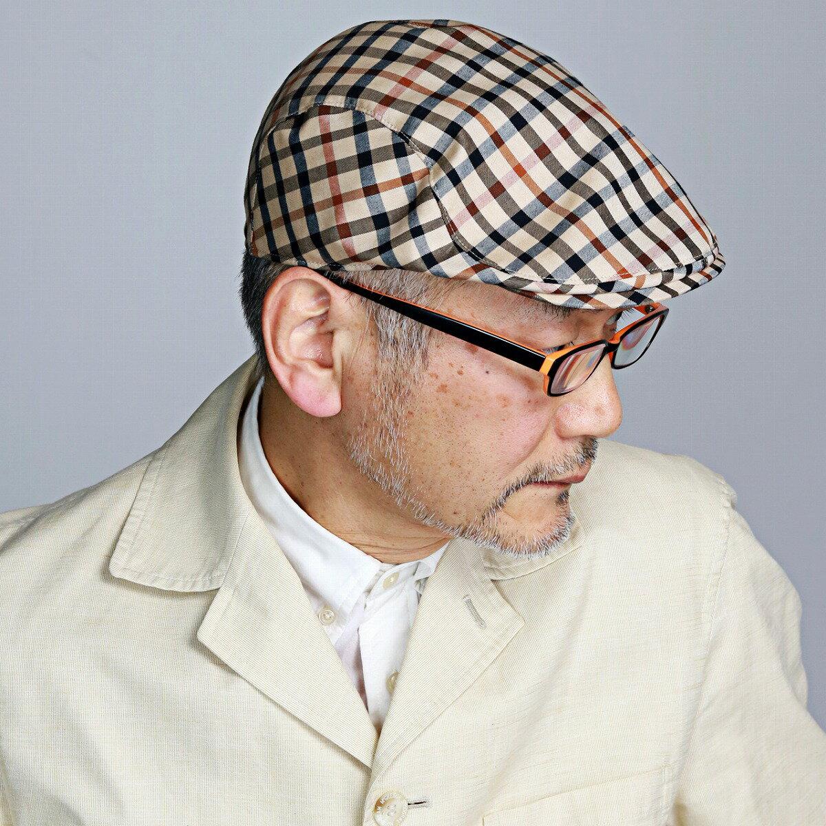 DAKS ハンチング メンズ 春夏 帽子 ハンチング帽 ダックス 40代 50代 60代 70代 ファッション チェック 総柄 コットン ブリティッシュ ハウスチェック ベージュ系 [ ivy cap ](メンズ帽子 紳士帽子 ギフト ハンチング帽子 男性 おしゃれ プレゼント 通販 ぼうし)