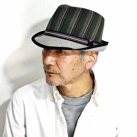 STACY ADAMS ストローハット ストライプ 春 夏 メンズ フェドラハット INGLEWOOD 中折れハット ストライプ柄 中折れ 帽子 大きいサイズ ハット ポリエステル ステイシー アダムス インポート お洒落 S M L XL / ブラック 黒 [ straw hat ][ fedora ]