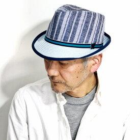 ストローハット ストライプ 春 夏 メンズ STACY ADAMS フェドラハット INGLEWOOD 中折れハット ストライプ柄 中折れ 紳士 帽子 大きいサイズ S M L XL ハット ポリエステル ステイシー アダムス インポート ブランド / ブルー 青 [ straw hat ][ fedora ]