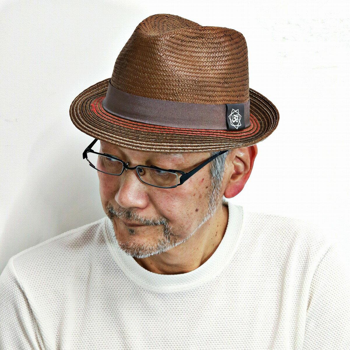 帽子 ハット メンズ カルロスサンタナ 中折れハット ストローハット Holistic ブラウン 茶 男性 ギフト アウトドア [fedora] [straw hat] 送料無料(紳士帽子 中折れ メンズハット 中折れ帽子 ストロー おしゃれ 通販 40代 50代 60代 ファッション ブランド帽子 ぼうし)