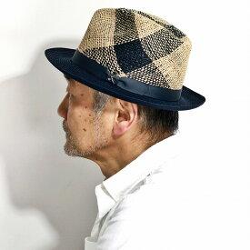 カルロス サンタナ ヘンプ ストローハット メンズ 春 夏 ハット 麦わら帽子 チェック柄 CARLOS SANTANA 帽子 TRISHUL 天然素材 2トーン 中折れハット オーム梵字 麦わら帽子 麻 インポート 大きいサイズ 帽子 メキシコ製 おしゃれ ネイビー 紺 [ straw hat ]
