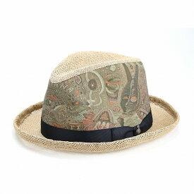 カルロスサンタナ ストローハット 春 夏 帽子 メンズ 大きいサイズ 中折れ帽 涼しい ジュート素材 麻 インポート プリント柄 麦わら帽子 ペイズリー CARLOS SANTANA 高級 個性的 ハット L XL ナチュラル [ straw hat ] 父の日 ギフト お父さん プレゼント