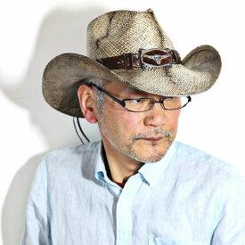 本パナマ カウボーイ ハット メンズ 春夏 ロングホーン バックル 毛 ベルト 牛 テンガロンハット カリフォルニアハット トキヤ草 パナマハット ヴィンテージ 染め ストローハット California Hat Company Inc. ブラウン ナチュラル [ panama hat ] [ cowboy hat ]
