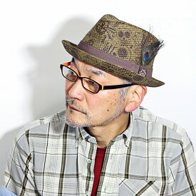 CARLOS SANTANA 帽子 メンズ 大きいサイズ 春 夏 ペーパーハット スカル 柄 カルロス サンタナ ストローハット お洒落 柄 プリント ユニーク 髑髏 ロック 中折れハット 羽根付き M L XL / オリーブ ブラウン ティー [ straw hat ] 父の日 ギフト お父さん プレゼント
