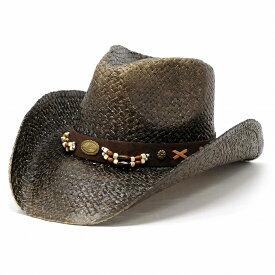 ストローハット メンズ ペーパー カウボーイ ウッドビーズ バックル ベルト 帽子 夏 California Hat Company Inc. アメリカ ウエスタンハット ハット カリフォルニアハット 麦わら帽子 ワイドブリム ナチュラル つば広 黒 Dブラウン [ cowboy hat ] [ straw hat ]