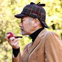 秋 冬 KASZKIET ディアストーカー シェットランドウール レトロ 帽子 紳士 防寒 メンズ チェック柄 サイズ調整可 男性…