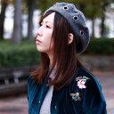 【全品10%OFFクーポン配布中】 ベレー 秋 冬 メンズ ベレー帽 レディース モード系 ウール100% スタッズ ブルックリンハット BROOKLYN HAT 灰色 グレー [ beret ](