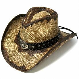 パナマハット カウボーイ 茶色 スター バックル ベルト ウエスタンハット メンズ 星 スタッズ 帽子 日除け テンガロン ストローハット California Hat Company Inc. カウボーイ ハット 春夏 ウエスタン ワイヤー入り ブラウン [ cowboy hat ] [ panama hat ]