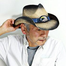 カウボーイ ハット ラフィア メンズ ピーターグリム ストローハット 春 夏 帽子 星条旗 イーグル 鷹 鷲 カウボーイハット ウエスタンハット Big Jim USバンド イーグルバックル 麦わら帽子 レディース 日よけ 黒 ブラック[ cowboy hat ]