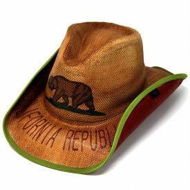 カリフォルニアリパブリック 帽子 メンズ 春夏 カウボーイ ハット 熊 ピーターグリム ウェスタン ハット ベアー レディース ワイヤーブリム petergrimm つば広 ハット カリフォルニア 西海岸 CALIFORNIA REPUBLIC ウエスタンハット 茶 ブラウン[ cowboy hat ]