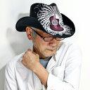 ピーターグリム カウボーイハット メンズ ギター柄 ワイヤーブリム ペーパーハット 春 夏 petergrimm Truss ストローハット ギタープリント レディース 中折れ帽 麦わら帽子 個性的 ロックデザイン / 黒 ブラック [ wide-brim hat ][ cowboy hat ]
