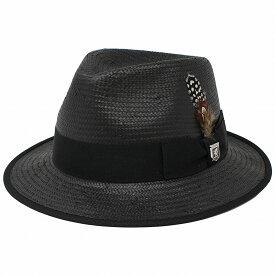 ステイシー アダムス 帽子 春 夏 ストローハット メンズ 大きいサイズ 61cm STACY ADAMS 中折れハット 羽根付き 紳士 Austin つば広ハット TOYO インポート 麦わら帽子 M L XL お洒落 リゾートコーデ 日よけ ブラック 黒 [ straw hat ][ fedora ]