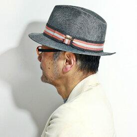 春 夏 ハット メンズ 帽子 まだら模様 リボン ドット 3色ライン ボーダー柄 / STETSON 大きめ ストローハット 中折れハット りぼん 麦わら帽子 HAT メンズ レディース ステットソン 中折れ帽 紳士 M L XL / ピンク系リボン グレー[ fedora ][ straw hat ]