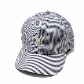 メンズ ストライプ柄 キャップ メッシュ 涼しい KNOX 帽子 春夏 ノックス ベースボールキャップ シアサッカーワッペン B.Bキャップ アジャスターベルト サイズ調整可能 帽子 CAP 青 ブルー[ baseball cap ]父の日 ギフト プレゼント