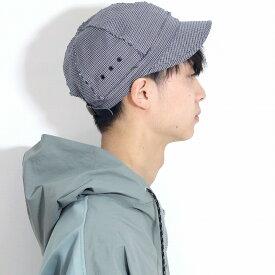 春 夏 帽子 ラカル 6パネルキャップ チェック柄 racal キャップ 帽子 メンズ ショートブリム フリップ仕様 キャップ コットン混 日本製 フリーサイズ CAP カジュアル 千鳥格子 キャップ レディース / 青 ブルー(千鳥柄)[ cap ]