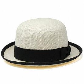 """パナマ ボーラーハット メンズ 春 夏 帽子 ベイリー パナマハット モノトーン Bailey インポート 海外ブランド アメリカ製 パナマ帽 トキヤ草 高級 M L XL """"CHAPLIN"""" Genuine Panama Bowler 黒リボン / 白 ブリーチ[ panama hat ][ boater hat ]父の日 ギフト プレゼント"""