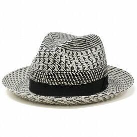 Bailey ストローハット 幾何学模様 モノトーン 麦わら帽子 メンズ ベイリー ペーパーハット 春 夏 三角模様 中折れハット 高品質 ペーパーブレード 民族柄 帽子 大きいサイズ 白黒 ブラック ホワイト[ straw hat ][ fedora ]父の日 ギフト プレゼント ラッピング無料
