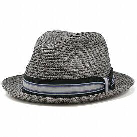 Bailey 帽子 ペーパーブレード 春 夏 ストローハット メンズ ベイリー 中折れハット 涼しい ハット 海外ブランド 麦わら帽子 おしゃれ 中折れ帽 紳士 ストライプリボン グレー系 グラベル[ paper hat ][ fedora ]父の日 ギフト プレゼント ラッピング無料