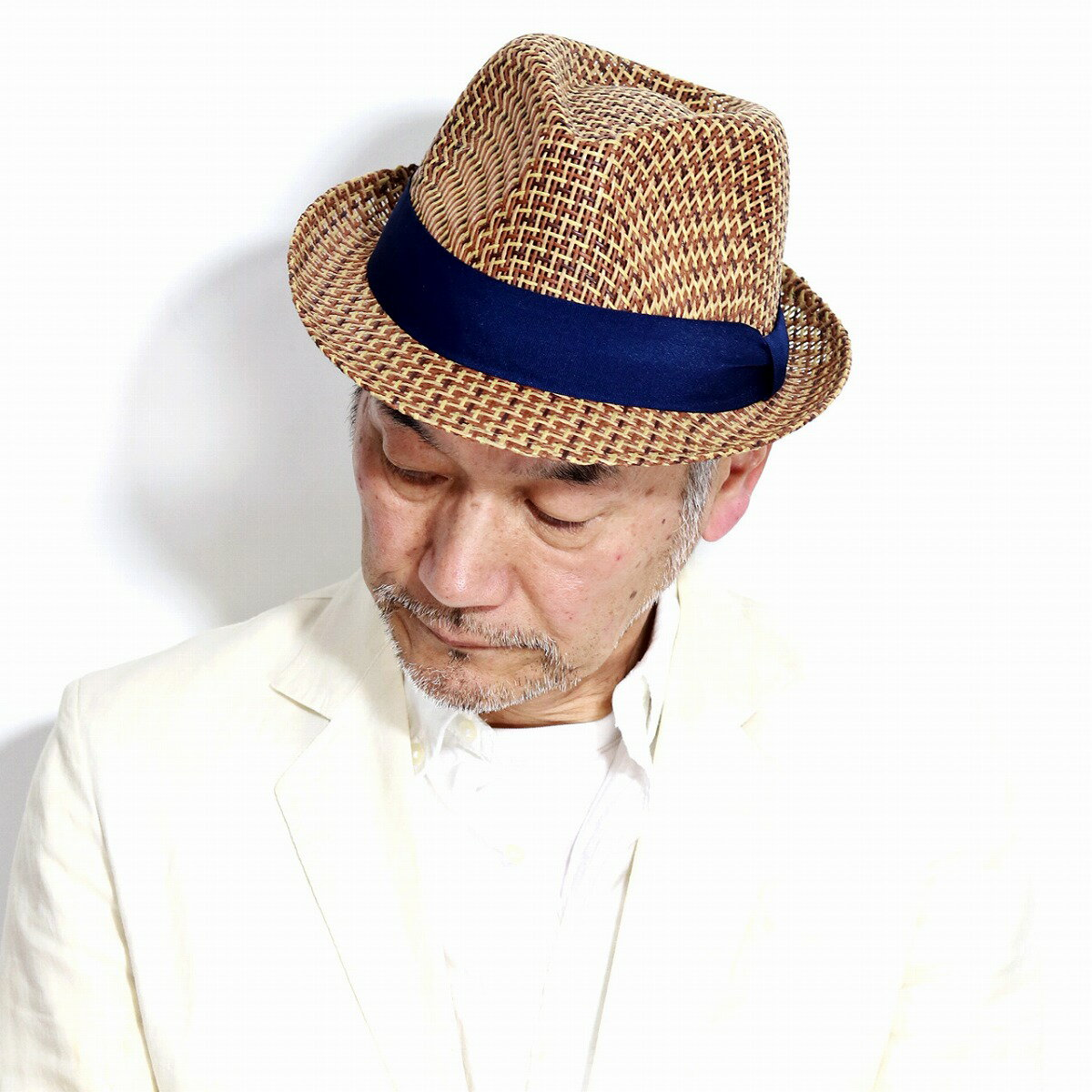 ルーベン ストローハット メンズ 春 夏 ペーパー 中折れハット メンズ レディース ruben 帽子 ミックスカラー 麦わら帽子 日よけ / ブラウン 紺リボン [ straw hat ] [ fedora ] 父の日 プレゼント ギフト ラッピング無料