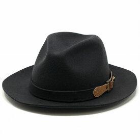 KNOX ( ノックス ) フェルトハット パッカブル ハット 折りたたみ可能 中折れハット 秋冬 取り外し可能 レザー 革 ベルト巻き 羊毛 大きいサイズ アメリカ ブランド 中折れ メンズ 日本製 ダークグレー[ fedora hat ][ felt hat ]