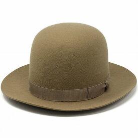 フェルトハット メンズ 秋 冬 ノックス 帽子 ボーラーハット 中折れハットハット アメリカ ブランド 日本製 オープンクラウンハット クラウンを好きな形に変形 ラビットファーフェルト ウールフェルト 58cm 60cm / ベージュ[ boater hat ][ felt hat ]