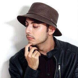 サハリハット メンズ レザー ノックス ハット 牛革 帽子 knox サファリハット 日本製 バケットハット 茶 帽子 プレゼント 紳士 ブラウン[ bucket hat ]男性 帽子 通販 ぼうし ギフト クリスマス プレゼント