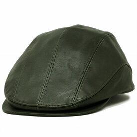 ハンチング メンズ 本革 帽子 40代 50代 60代 牛革 茶系 レザー ハンチング帽 紳士 大きいサイズ 日本製 レザーハンチング カウレザー レザー帽子 シンプル 革ハンチング M L XL サイズ調整付き / カーキ [ ivy cap ]