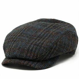 Harristweed ハンチング インポートブランド WIGENS 生地ブランド ハリスツイード ツイードチェック柄 ハンチング帽 北欧ブランド スウェーデン 57cm 58cm 60cm 62cm チェック 青 ブルー [ ivy cap ] プレゼント クリスマス ギフト