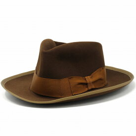 STETSON STETSONIAN オープンクラウンハット クラウンをアレンジ可能 ハット フェルトハット ステットソン ヴィンテージ復刻 ビーバー ラビット フェルト帽 アメリカ製 ダービーハット 58cm 60cm / 茶 ブラウン [ felt hat ] [ derby hat ]