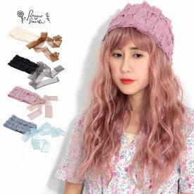 ヘアバンド レディース ターバン バラ色の帽子 ふりふりヘアバンド ヘッドドレス フリル 可愛い 小物 春夏 リボン [ turban ][ headdress ] メール便 リネン ナチュラル