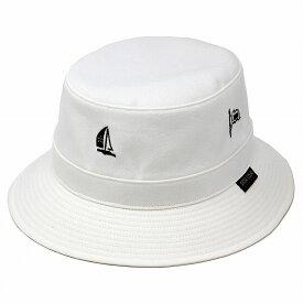 サファリハット メンズ 春夏 メンズ ハット SINACOVA マリン ヨット ロゴ 帽子 綿100% コットン シナコバ 日本製 サハリハット メンズ ブランド 紳士ハット オフホワイト [ bucket hat ]