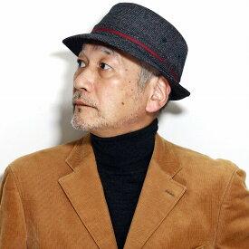ハット メンズ 帽子 アルペンハット 紳士帽子 50代 60代 70代 秋 冬 紳士ハット ダックス チェック柄 フランネル チャコールグレー[ alpine hat ]クリスマス 男性 プレゼント お父さん 還暦祝い ギフト