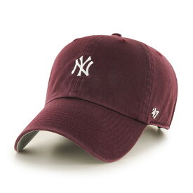 《10%OFFクーポン発行!! 96時間限定》 ニューヨークヤンキース キャップ メンズ ミニロゴ 47brand クリーンナップ フォーティーセブン ブランド キャップ ワイン Yankees Baserunner '47 CLEAN UP DarkMaroon ダークマルーン ラッピング無料