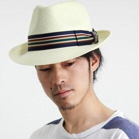 帽子 ハット メンズ スカラ ストローハット 春夏 シーズン 中折れハット フェドラ ボーダー柄リボン カラー アイボリー ギフト [ fedora ] [ straw hat ] 送料無料(メンズハット 紳士帽子 中折れ帽子 ストロー 40代 50代 60代 70代 ファッション おしゃれ 通販 ぼうし)
