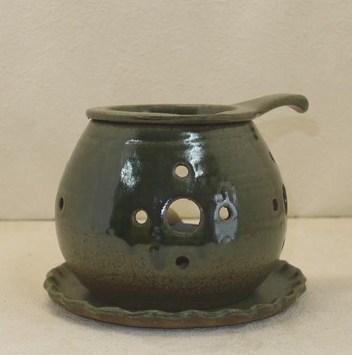 常滑焼 茶香炉 間宮窯 織部彫 日本製