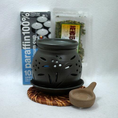 常滑焼 茶香炉4点セット 冨仙窯 透かし小花 日本製