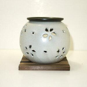 常滑焼 茶香炉 冨仙窯 桜透かし白送料無料(北海道・沖縄・離島は除く) 日本製