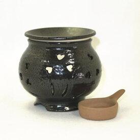 常滑焼 茶香炉 冨仙窯 草花彫 日本製