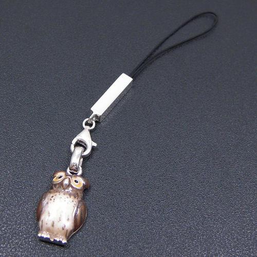 シルバー携帯ストラップ フクロウ エナメル彩色 イニシャル刻印(別料金)