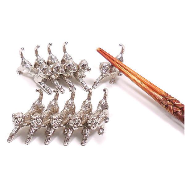業務用 猿の箸置き 銀色10個セット 【ギフト不可】