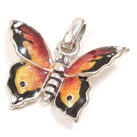 チャーム ペンダントトップ シルバー925 蝶々 チョウチョ オレンジ エナメル彩色 イタリア製 サツルノ インポート レディース