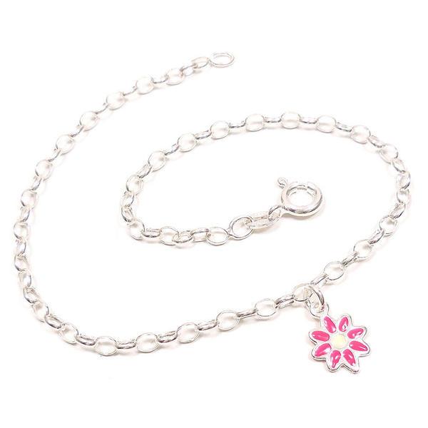 シルバーアンクレット レディース 花のチャーム付き ピンク イタリア製