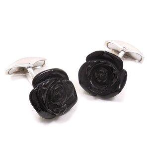 カフスボタン カフリンクス イニシャル名入れ刻印 シルバー925 薔薇 バラ オニキス イタリア製 ベルフィオーレ インポート メンズ 黒 ブラック プレゼント ギフト