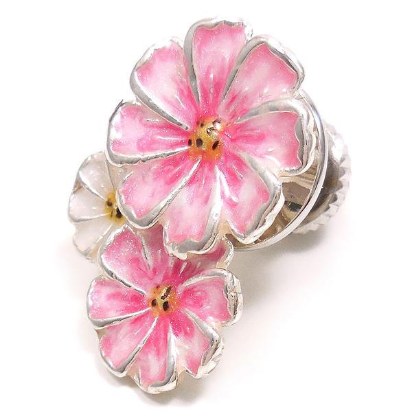 サツルノ ピンブローチ ラペルピン シルバー925 花 フラワー コスモス ピンク&白 エナメル彩色 SATURNO インポート