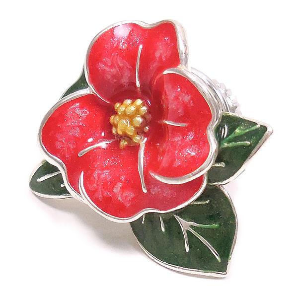 サツルノ ピンブローチ ラペルピン シルバー925 花 フラワー ツバキ レッド エナメル彩色 SATURNO インポート