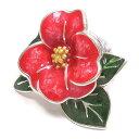 ピンブローチ ラペルピン シルバー925 花 フラワー ツバキ レッド シルバー エナメル彩色 イタリア製 サツルノ インポ…