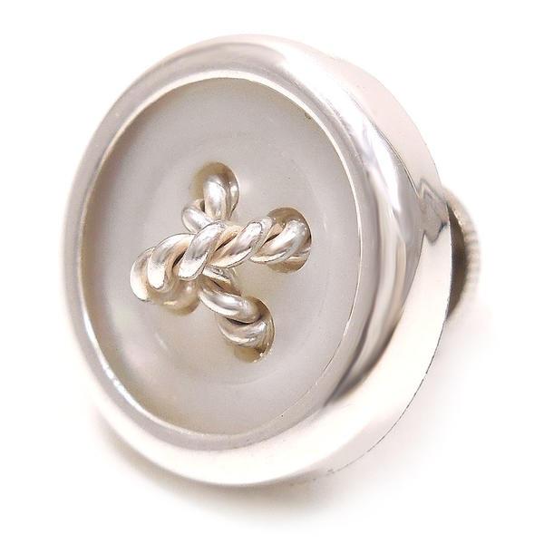 ベルフィオーレ ピンブローチ ラペルピン シルバー925 丸型ボタン風 白蝶貝 BELFIORE インポート