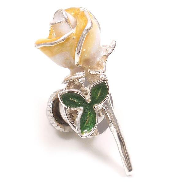 サツルノ ピンブローチ ラペルピン シルバー925 花 フラワー 薔薇 バラ 白 エナメル彩色 SATURNO インポート