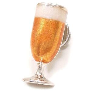ピンブローチ ラペルピン シルバー925 ビールグラス エナメル彩色 中濃色 イタリア製 サツルノ インポート メンズ レディース プレゼント ギフト